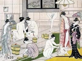 Badezimmer Dekorationen Asiatische Wohndeko orientalisch Bade Kunst 16x23 Repro - $17.33