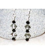 Swarovski crystal jet black and black diamond E... - $12.00