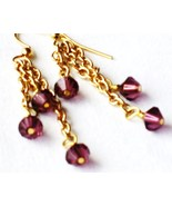Swarovski crystal amethyst bicone drop earrings... - $12.00