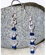 GENUINE Swarovski Brystal Blue Clear Crystal Ea... - $12.00