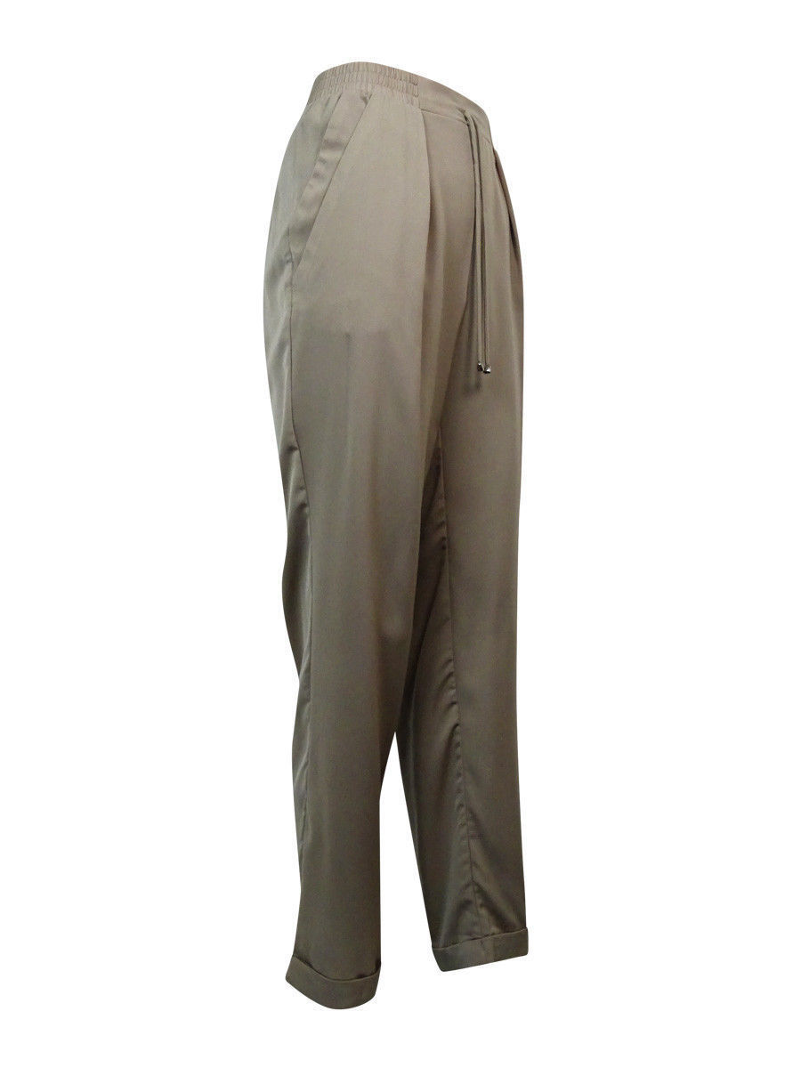 NY Collection Women's Pleated Drawstring Pants XL, Mushroom image 2