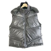 Armani Jeans Women's Gray & Black Reversible Hooded Zip Up Puffer Vest S... - $65.44