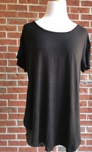 Hippie Chic Black & Pink Contrast Racerback Curved-Hem Tee - Size L - $16.48
