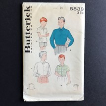 Uncut Butterick Boys Short and Long Sleeve Shirt Pattern 1951 5839 Size 14 - $9.91