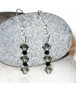 Swarovski crystal black diamond and jet black E... - $12.00