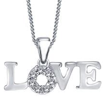 10k White Gold FN 925 Silver Women's LOVE Pendant With Chain Round Cut Diamond - $54.66