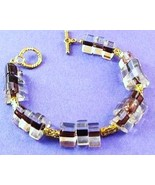 NEW Purple Clear Glass Triangle Beaded Toggle B... - $6.00