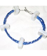 Blue and White Double-Strand Glass Bead Bracelet - $6.00