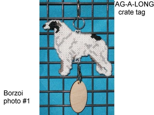 Borzoi crate tag or hang anywhere, sight hound sighthound dog kennel accessory