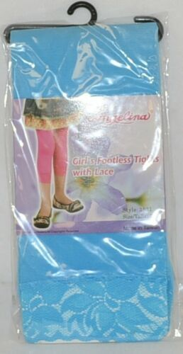 Angelina Girls Footless Tights Lace Cuff Size Seven Ten