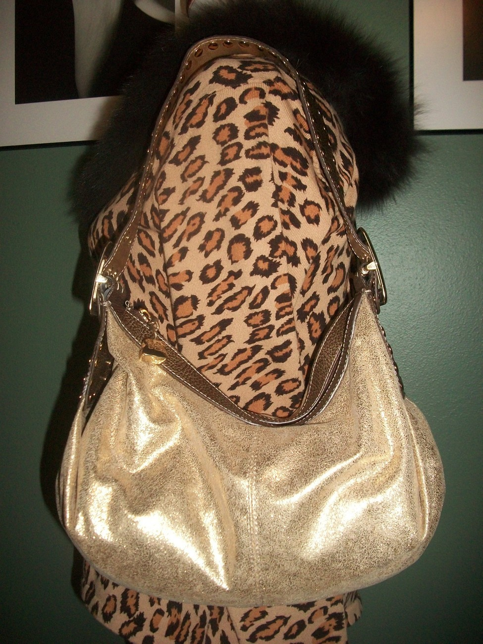 KATHY VAN ZEELAND Metallic Slouch Hobo Shoulder Bag W/ Charm