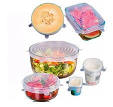 6PCS Reusable Silicone Saran Wrap Food Kitchen Tools Silicone Food Wrap ... - $16.31