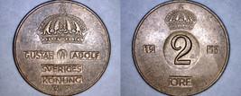 1953 Swedish 2 Ore World Coin - Sweden - $6.99