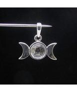 Sterling silver Wicca pendant Triple Moon Pentagram with White Quartz ca... - $32.00