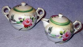 Old vintage Made in Japan Rose Floral Cream and Sugar with Lids - $25.00