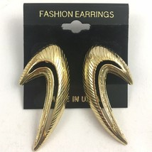Vintage Funky Modernist Dangle Earrings Gold Tone Unique NOS 80s 90s - $12.58