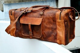 New Men Weekend Genuine Rustic Soft Leather Travel Gym Duffel Luggage Br... - $86.02