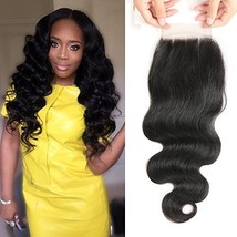Bestsojoy 10A Brazilian Body Wave 4x4 Three Part Lace Closure Natural Black Braz image 1
