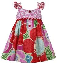 Bonnie Jean Little Girl 2T-6X Red Multi Big Floral Print Flower Back Applique Dr