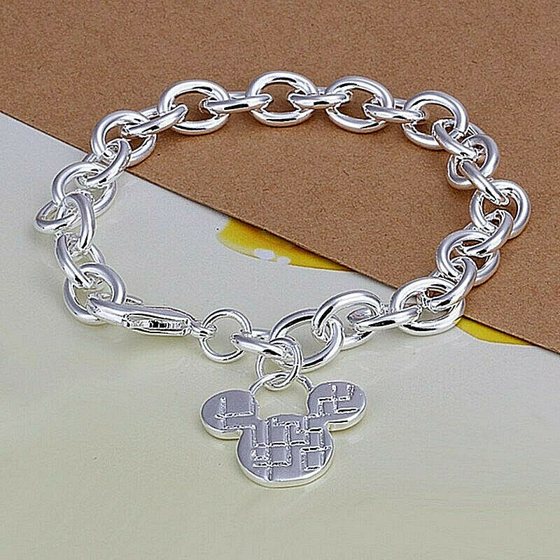 Primary image for Chain Link Bracelet with Mickey Charm 925 Sterling Silver NEW