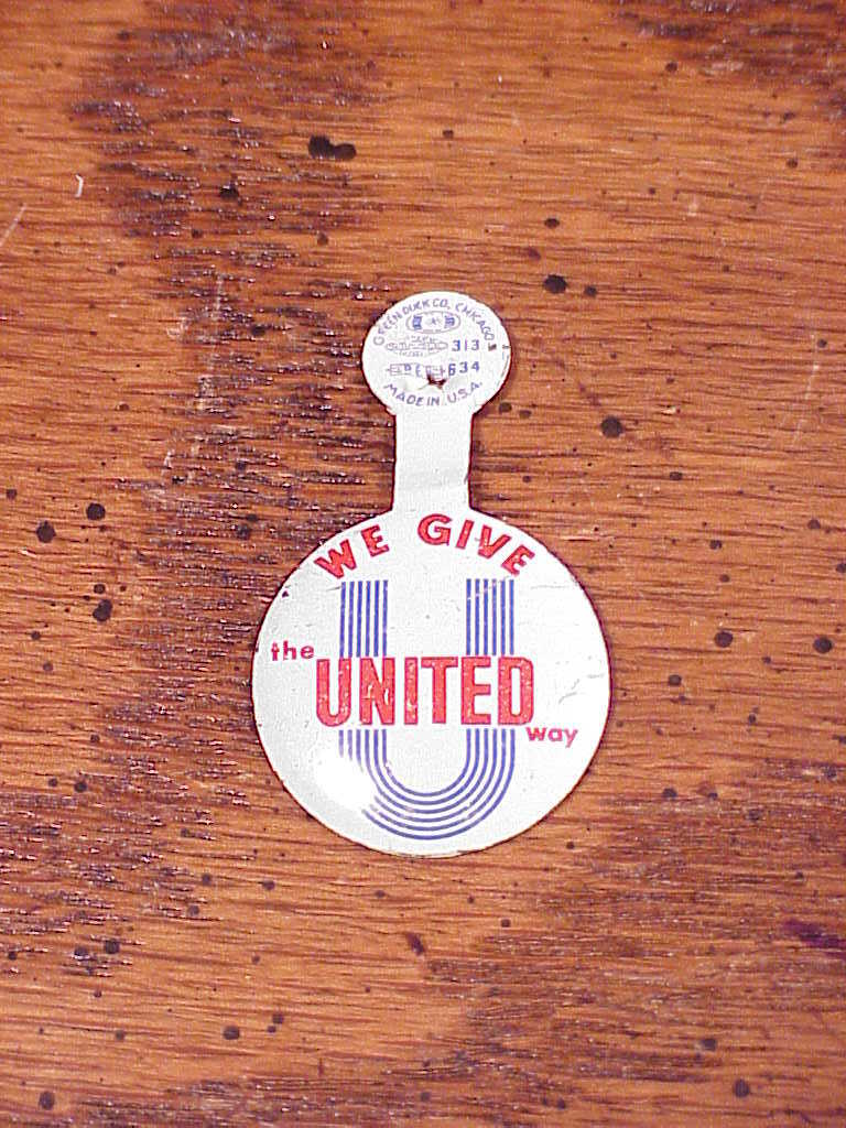 Lot of 2 Charity Pin Tab Buttons, We Give United Way and 10 Percent