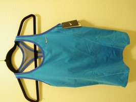 NWT NIKE Womens Long shape Tank Top Bra Reflective Running 573212 Blue y... - $36.99