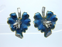 Crown TRIFARI Blue Leaf Clear Rhinestone Bug Gold Tone Clip-On Earrings ... - $98.99