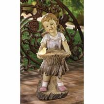 Garden Statue Sweet Summertime Girl Holding Bird Feeder Basket w/ Solar ... - $31.63