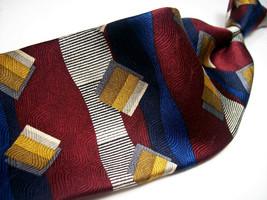 ADOLFO  BURGUNDY/Gold/BLUES  ABSTRACT Mens 100 SILK Necktie  s 8-725 - $19.99
