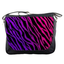 Messenger Bag Purple Zebra In Abstract Art Design For Video Game Animation Fant - $30.00