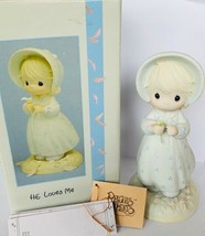 Precious moments figurine box Enesco 1990 He Loves Me 524263 bonnet porcelain  - $28.98