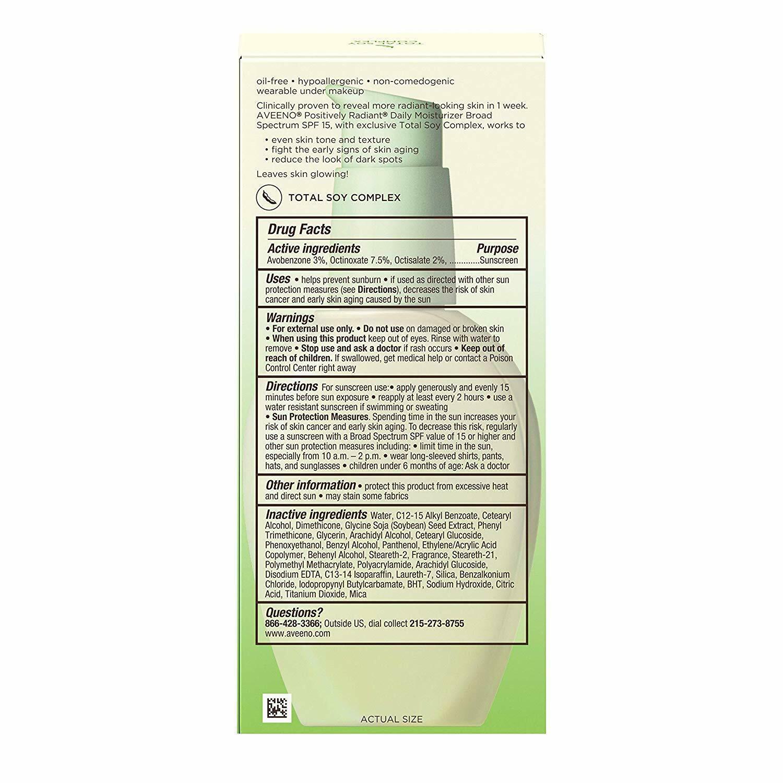 Aveeno Positively Radiant Skin Daily Moisturizer SPF 15 4oz image 2