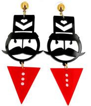 Fashion Jewelry Girls Big Cute Acrylic Black Moustache Red Triangle Stud... - €29,82 EUR