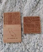 Greenline Goods Beech Wood Coasters - Wooden Coaster Set for Los Angeles... - $19.75