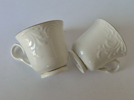 Gibson Designs Golden Legacy Coffee Cups Mugs White Gold Edge Embossed Lot of 2 - $12.82