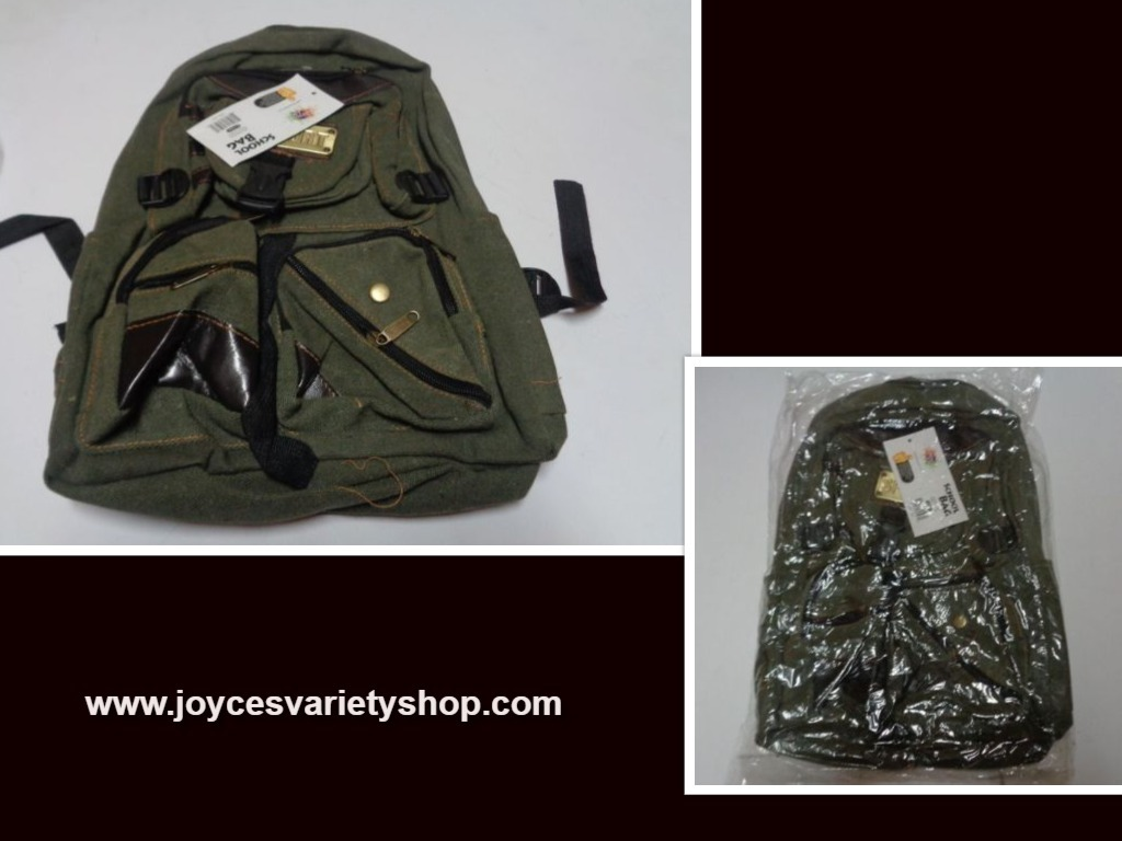 Army green backpack web collage