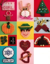 38 Holiday Plastic Canvas Mini Magnets Ornaments Gift Tie-On Napkin Ring Pattern - $12.99