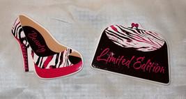 Pink, Black, White Zebra Stripe High Heel Shoe & Purse w/ Rhinestones Ma... - €7,75 EUR