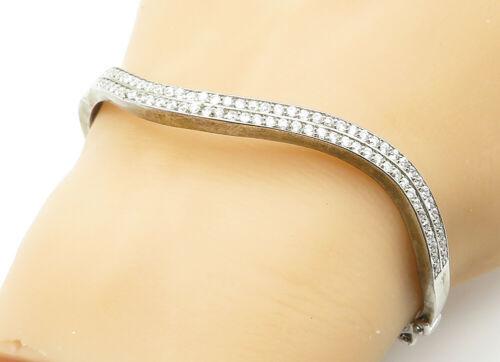 925 Sterling Silver - Vintage Cubic Zirconia Wavy Bangle Bracelet - B6263