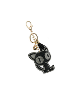 Spooked Cat Tassel Bling Faux Suede Stuffed Pillow Key Chain Handbag Charm - $12.95