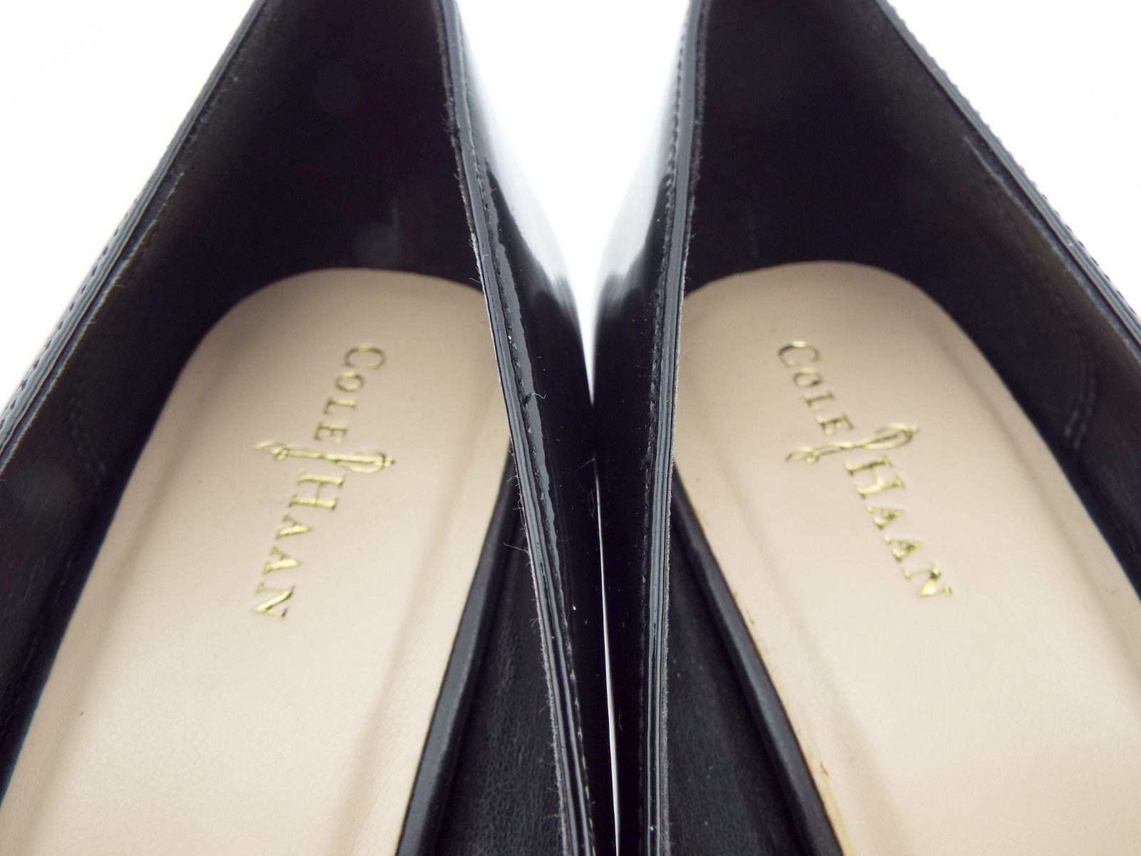 COLE HAAN Size 7.5 Black Patent Mid-Heel Pumps Shoes 7 1/2