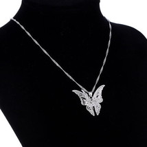 USA Fashion Silver Plated Women Lovely Butterfly Pendant Chain Necklace ... - $9.89