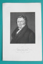 JACOB BERZELIUS Swedish Chemist Atomic Weight - 1840s Portrait Antique P... - $31.50