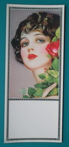 PINUP GIRL Brunette Blue Eyes Red Lips & Rose - Est 1920s INK BLOTTER - $8.55