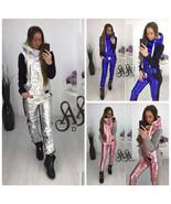 Woman Track Suit Winter Metallic Silver Pink Blue Black Grey Warm Sweat ... - $149.00