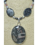 Fossil Rock Sterling Pendant Freshwater Pearl Jasper Necklace - $49.00