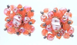 Vtg Western Germany Red Pink Ab Glass Bead Beaded Clip Earrings - $39.60