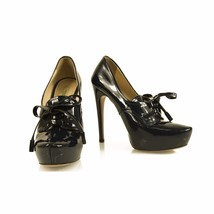 Prada Midnight blue Patent Leather Heels Platform Lace up Shoes Pumps 36,5 - $212.85