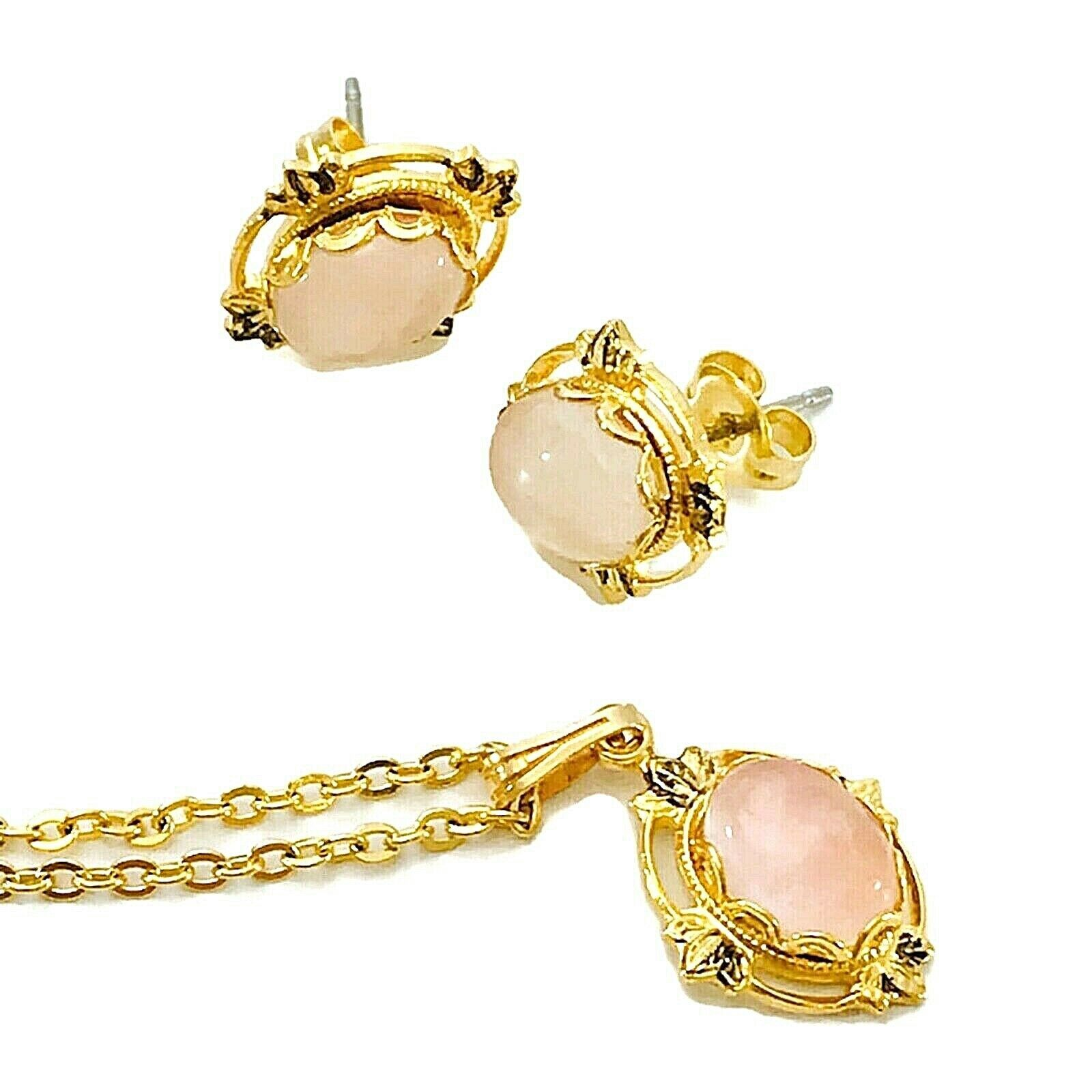 Primary image for Vintage Pink Jadeite Stone Earrings & Necklace Parure set in Gold-tone setting