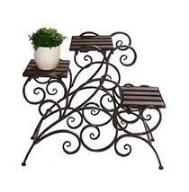 Antique Rustic Metal 3 Stairs Flower / Plant Stand Wood Trays Vine Patte... - $72.24